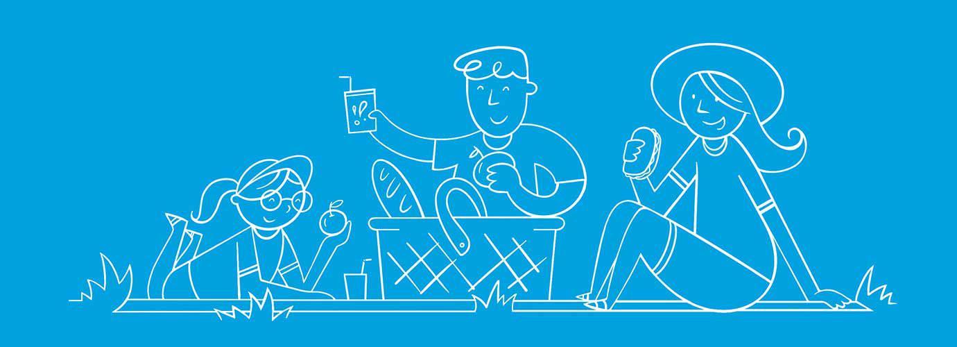 Illustrated семейство подготвя за пикник заедно на открито