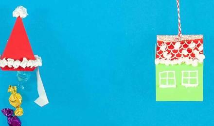 Опаковане на подаръци идеи изработени от картон и тъкан във формата на шапка Дядо Коледа и празнична къща