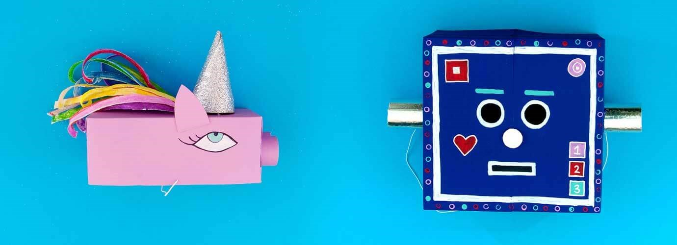 Μονόκεροι και ρομπότ: Φανταχτερές στολές για παιδιά από ζωγραφισμένα άδεια κουτιά από χαρτομάντιλα