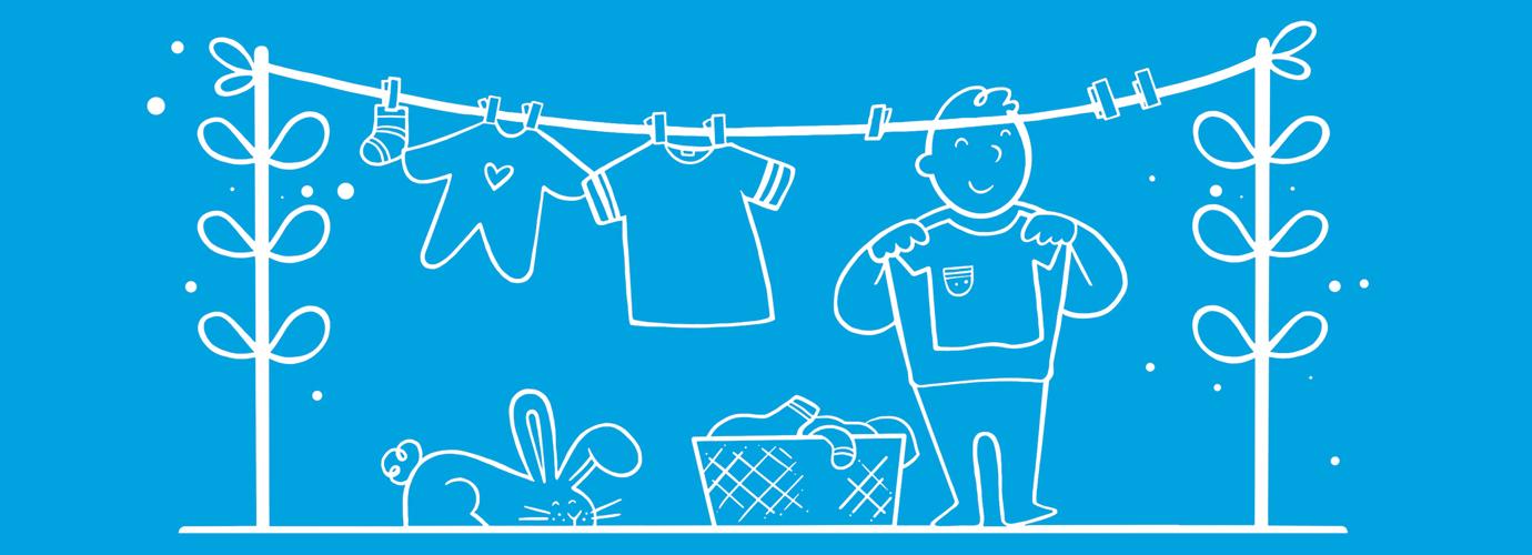 Ilustracija dečaka koji širi opran veš na žicu za sušenje kao primer kućnih poslova za decu