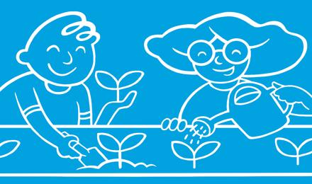 Ilustrovana deca u bašti zalivaju biljke