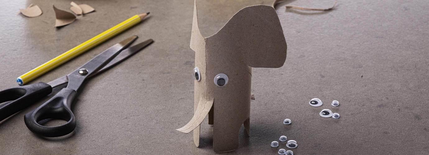 Bastelvorlage Elefant aus Küchenpapierrolle