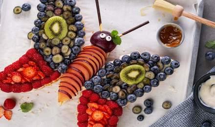 Leckeres Obstkuchen-Rezept : Ein bezaubernder Schmetterling wie von Kinderhand