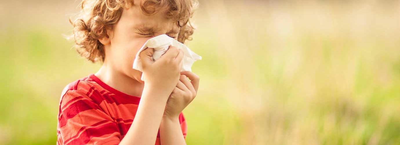Ένα αγόρι με αλλεργία στη γύρη φυσάει τη μύτη έξω του σε ένα χωράφι