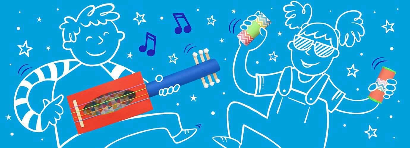 Εικονογραφημένα παιδιά που παίζουν με χειροποίητα μουσικά όργανα κατασκευασμένα από χρωματιστούς χαρτονένιους σωλήνες