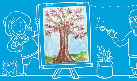 Μια παιδική ζωγραφιά ενός δέντρου σε εικονογραφημένα φόντο με δύο παιδιά που ζωγραφίζουν στο καβαλέτο