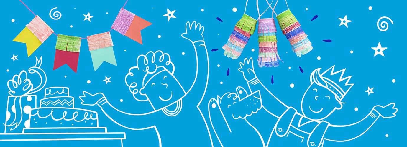Χειροποίητες γιρλάντες και πινιάτες σαν ιδέες διακόσμησης γενεθλίων με εικονογραφημένα παιδιά και έναν σκύλο που παίζει