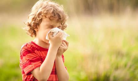 Мальчик с пыльцевой аллергией сморкается снаружи в поле