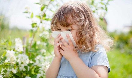 Малко момиче духаше носа си за облекчаване на алергия към цветен прашец