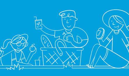 Illustrierte Familie bereitet gemeinsam ein Picknick im Freien vor
