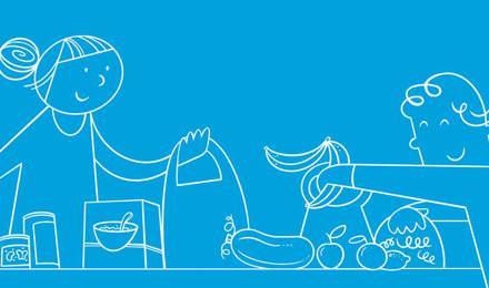Ein illustriertes Paar packt Lebensmittel aus den Einkaufstaschen