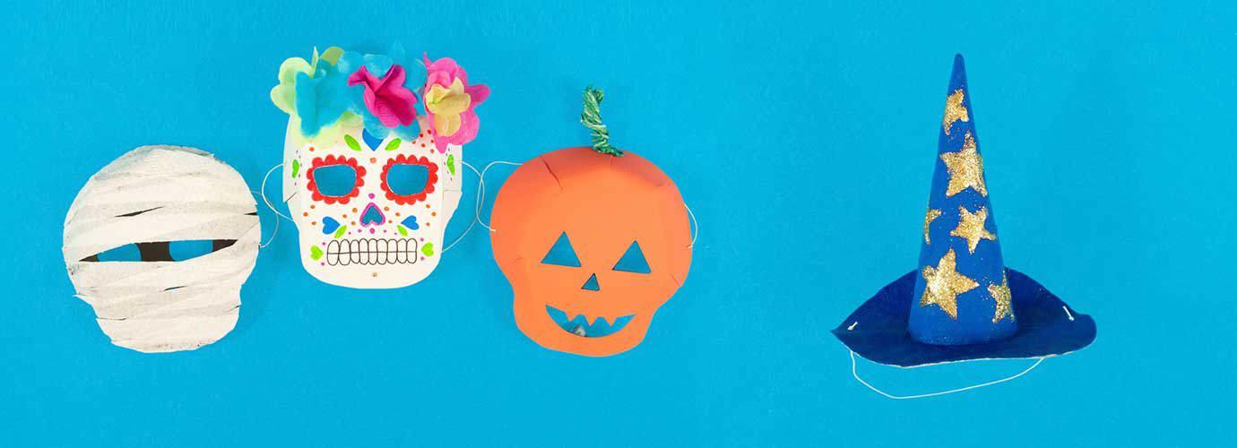 Házi készítésű halloween maszk múmiához, koponyához és tökhöz házi készítésű boszorkánykalappal
