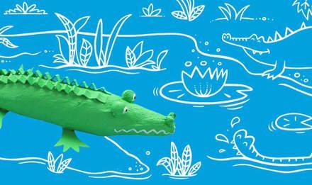 животные из папье маше крокодил 01