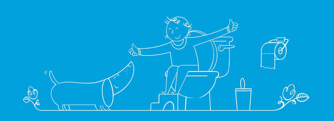 Obrázek z toalety - chlapec s podnožkou dává OK psovi