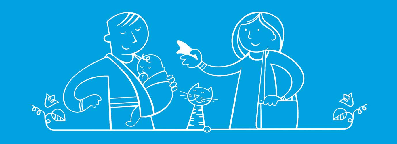 Ilustrirani roditelji s osnovnim potrepštinama za bebu u vrećici dok je beba pričvršćena na očevim prsima