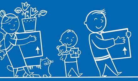 Μια εικονογραφημένη οικογένεια που κρατά κουτιά μετακόμισης