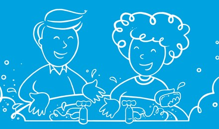 Ilustrovaný muž a žena si myjí ruce ve dřezu