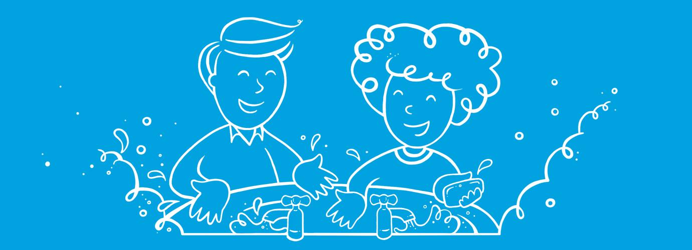 Илустровани мушкарац и жена перу руке у судоперу