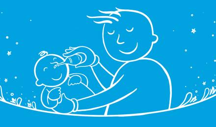 Tată ilustrat ținând un copil și suflându-i nasul cu o seringă cu bec