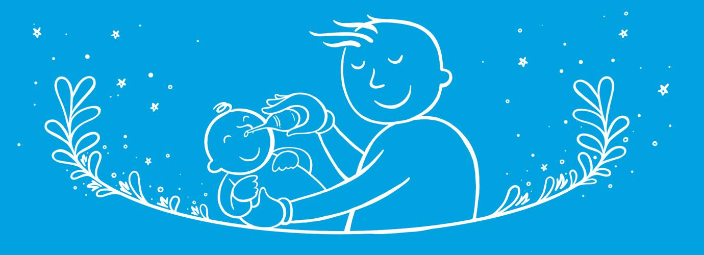 Illusztrált apa, aki csecsemőt tart, és izzó fecskendővel fújja a baba orrát