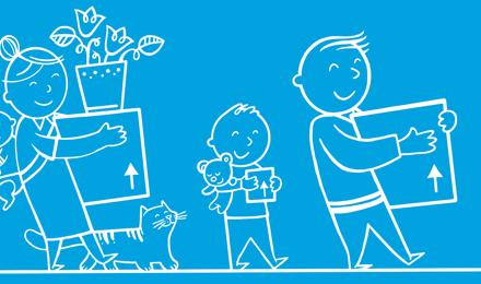 Илюстрирани семейни холдинги кутии за преместване в ново жилище