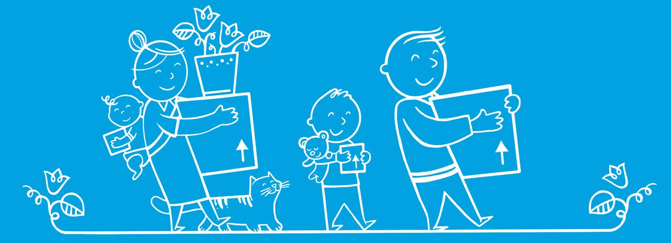 Ilustrirana obitelj drži kutije za selidbu u drugu kuću