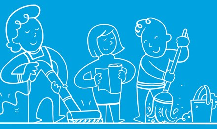 Illusztrált emberek takarítják a házat, kezében mop, pata és néhány konyhai papír