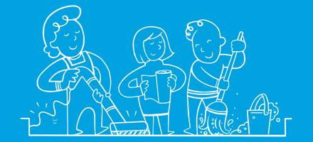 На малюнку зображені люди зі шваброю, пилесосом та паперовими рушниками, які прибирають у будинку