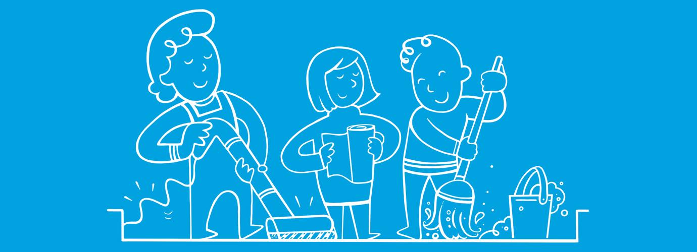 Ilustrirani ljudi koji čiste kuću držeći krpu, kapuljaču i malo kuhinjskog papira