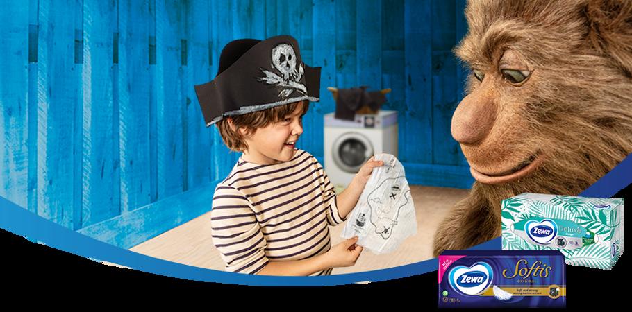 Șervețelele delicate Zewa sunt atât de puternice încât rezistă în mașina de spălat.