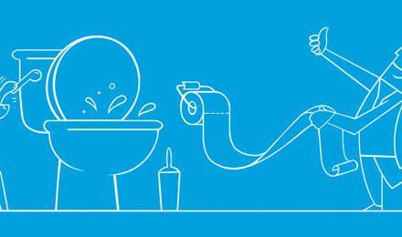 Illustrierter Junge und Hund befolgen WC-Regeln
