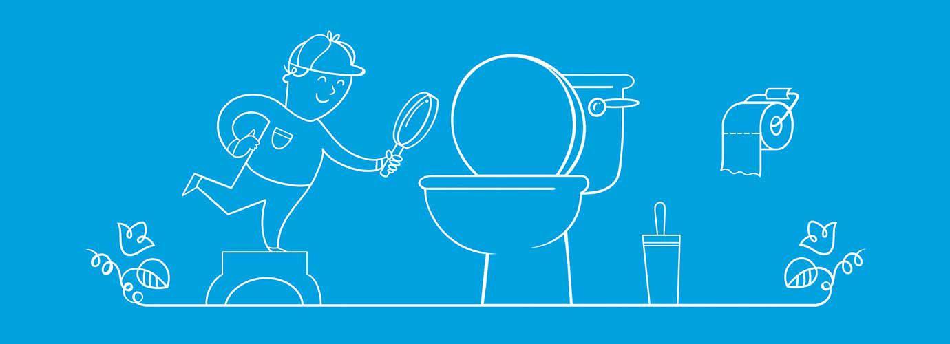 Illustrierter, als Detektiv verkleideter Junge schaut mit einer Lupe eine Toilette an