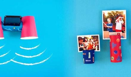 Aus angemalter Toilettenpapierrolle gebastelter Handyhalter als Geschenk für Vatertag