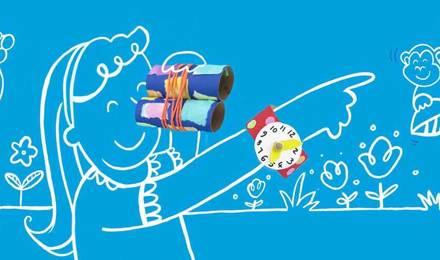 Illustrierte Kinder spielen mit einem Spielzeug Fernglas und angemalten Pappboxen