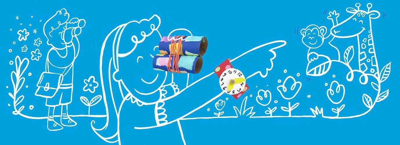 На малюнку зображені діти, які грають з саморобними біноклями та годинниками