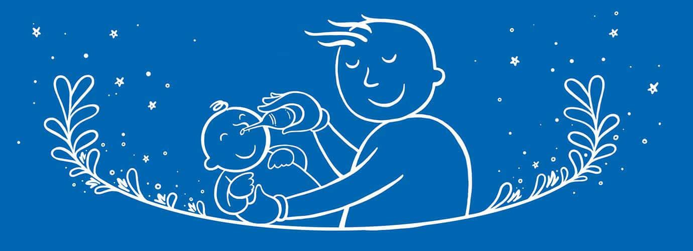 Ένας εικονογραφημένος μπαμπάς κρατά ένα μωρό και του φυσάει τη μύτη με φούσκα αναρρόφησης