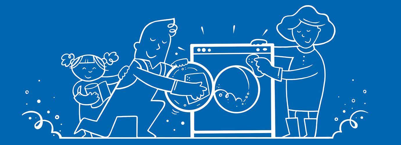 Μια εικονογραφημένη οικογένεια που πλένει όλη μαζί το πλυντήριο
