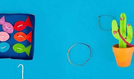 Декоративна картонна коробка з картонною рибою та кільцями для кактуса для дитячих ігор на відкритому повітрі