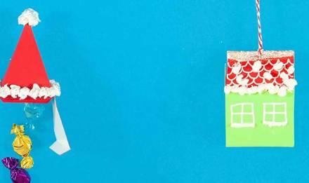 Ideen fürs Verpacken von Weihnachtsgeschenken aus Karton und Taschentüchern in Form von Weihnachtsmütze und geschmücktem Haus
