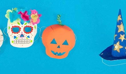 Măști făcute manual pentru Halloween - mumie, craniu din zahăr și un dovleact cu pălărie de vrăjitoare