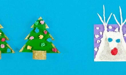 Diy коледни картички, изработени от картон, хартия тъкан и блясък, във формата на коледни елхи и бял елен
