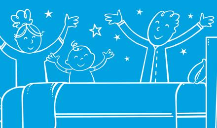 Rodina v uklizené ložnici zvedající ruce k oslavě a hvězdy na pozadí