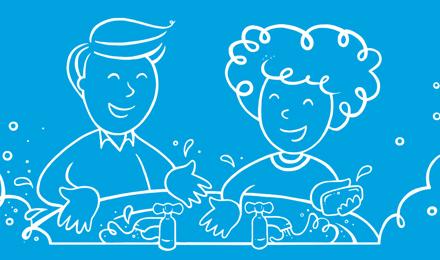 Illustrierter Mann und illustrierte Frau waschen ihre Hände in einem Waschbecken