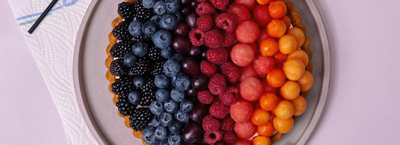 Rainbow-Beeren-Melonen-Tarte