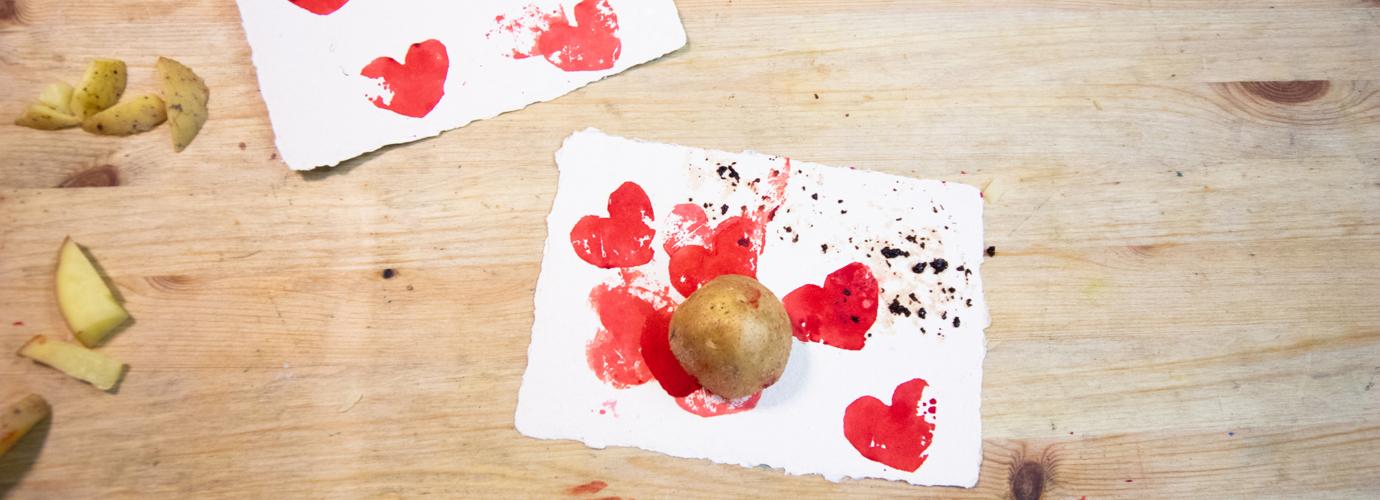 Kartoffeldruck Ideen für regnerische Tage Zuhause